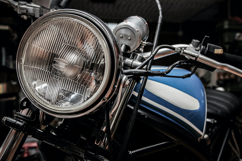 close up of a classic motorcycle